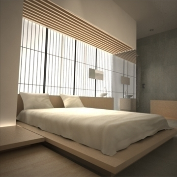 modern japanese bedroom 3d model max 92378
