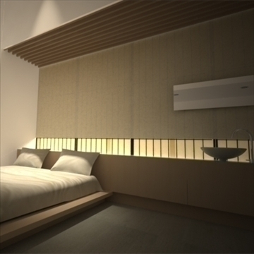 modern japanese bedroom 3d model max 92381