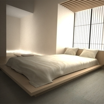 modern japanese bedroom 3d model max 92382