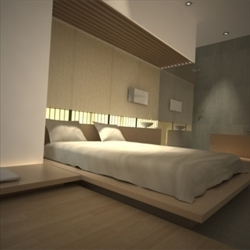 modern japanese bedroom 3d model max 92383