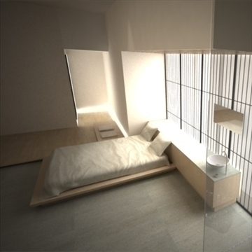 modern japanese bedroom 3d model max 92385