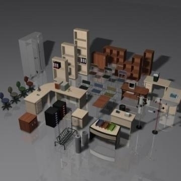 office furniture set volume 1 3d model 3ds max 78827