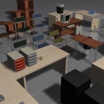office furniture set volume 1 3d model 3ds max 78829