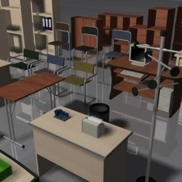 office furniture set volume 1 3d model 3ds max 78830