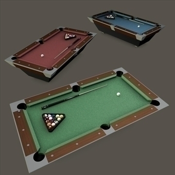 pooltable billiards with cue chalk and balls 3d model 3ds dxf fbx c4d texture obj 111079