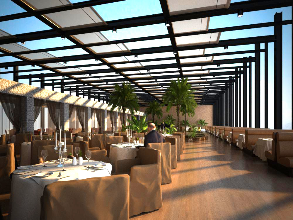 restaurant 100 two two 3d model max 125816