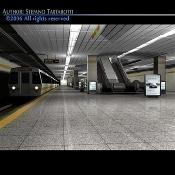 subway station with train 3d model 3ds dxf c4d obj 84653