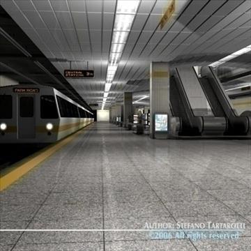 subway station with train 3d model 3ds dxf c4d obj 84660