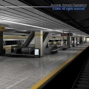 subway station with train 3d model 3ds dxf c4d obj 84662