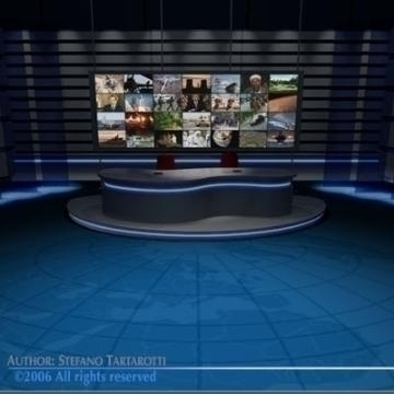 tv news studio 3d model 3ds dxf c4d obj 77412