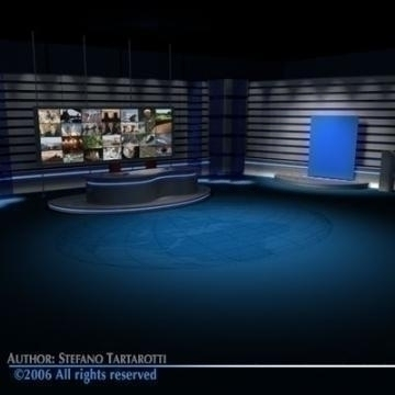 tv news studio 3d model 3ds dxf c4d obj 77413