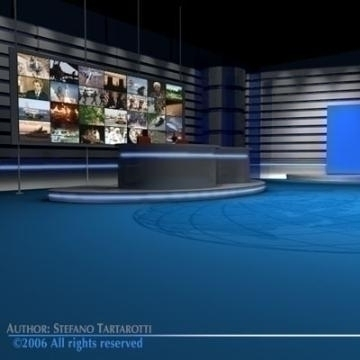 tv news studio 3d model 3ds dxf c4d obj 77414