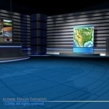 tv news studio 3d model 3ds dxf c4d obj 77415