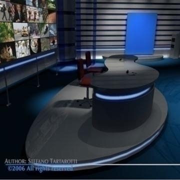 tv news studio 3d model 3ds dxf c4d obj 77417