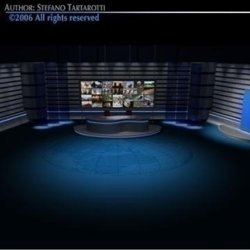 tv news studio 3d model 3ds dxf c4d obj 77418