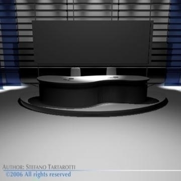 tv news studio 3d model 3ds dxf c4d obj 77419