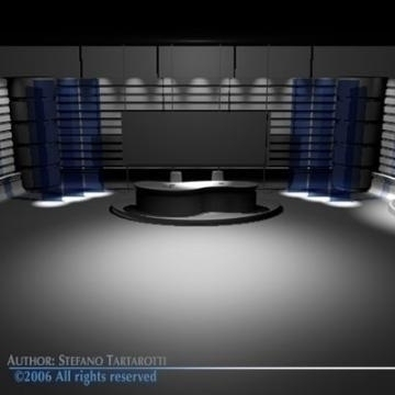 tv news studio 3d model 3ds dxf c4d obj 77420