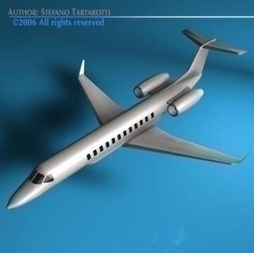 business jet 3d model 3ds dxf c4d obj 78290