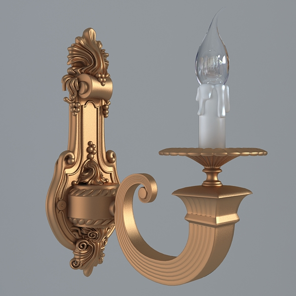antique wall sconce light 3d model 3ds max fbx obj 120774