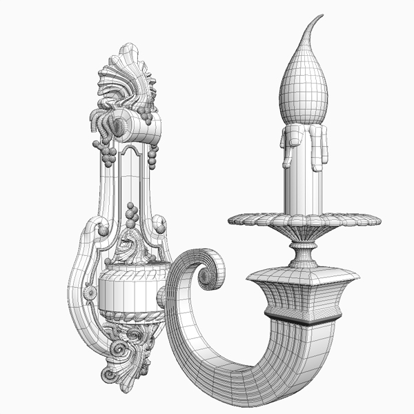 antique wall sconce light 3d model 3ds max fbx obj 120777