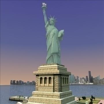 liberty island scene statue of liberty 3d model 3ds max fbx lwo ma mb hrc xsi texture obj 107696