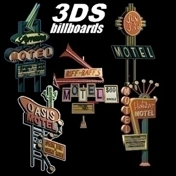 motel signs x 5 3d model 3ds 95865