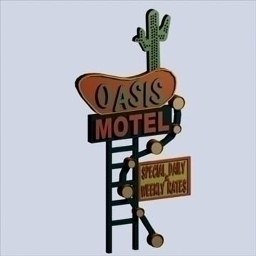 motel signs x 5 3d model 3ds 95867