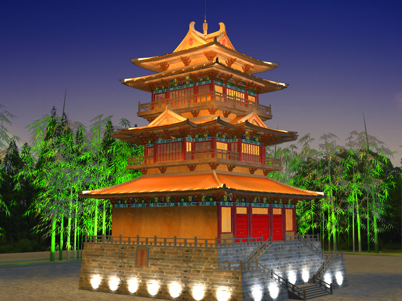 china temple lighting 2 3d model 3ds max 127929