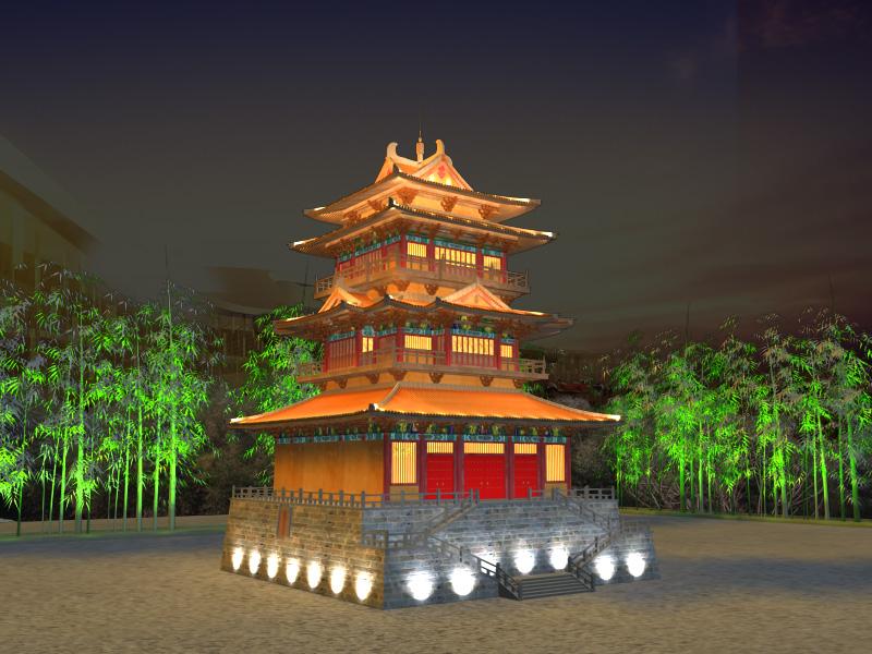 Ķīnas tempļa apgaismojums 2 3d modelis 3ds max 127930