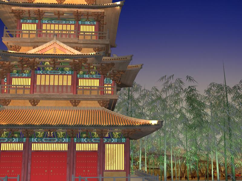 Ķīnas tempļa apgaismojums 2 3d modelis 3ds max 127931