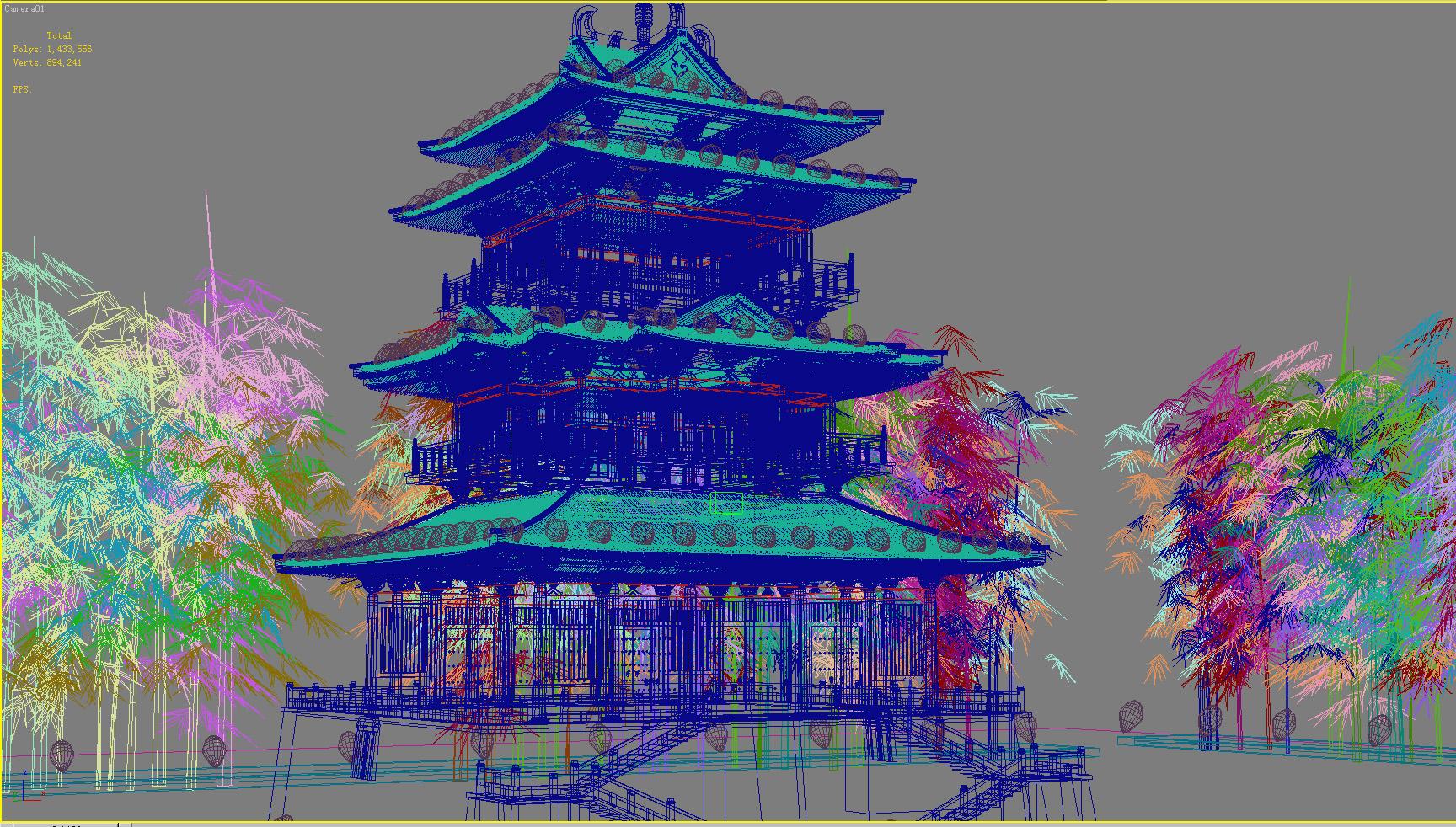 Ķīnas tempļa apgaismojums 2 3d modelis 3ds max 127932