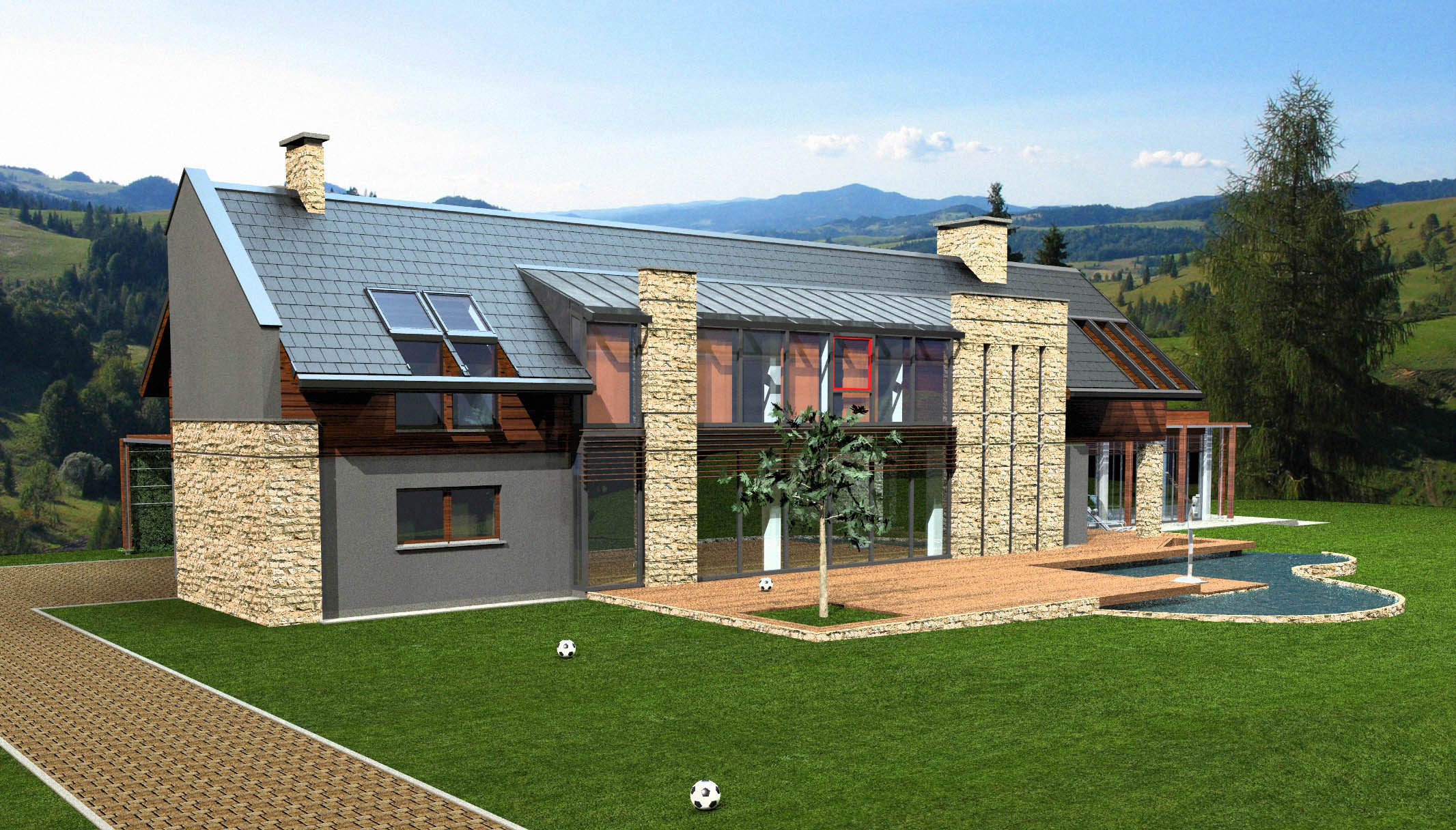 Modern country house 3d model download 3ds max dxf dwg c4d obj in houses