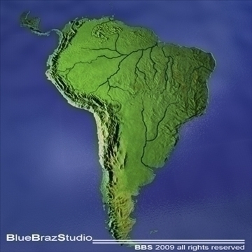 south america 3d model 3ds dxf c4d obj 101725