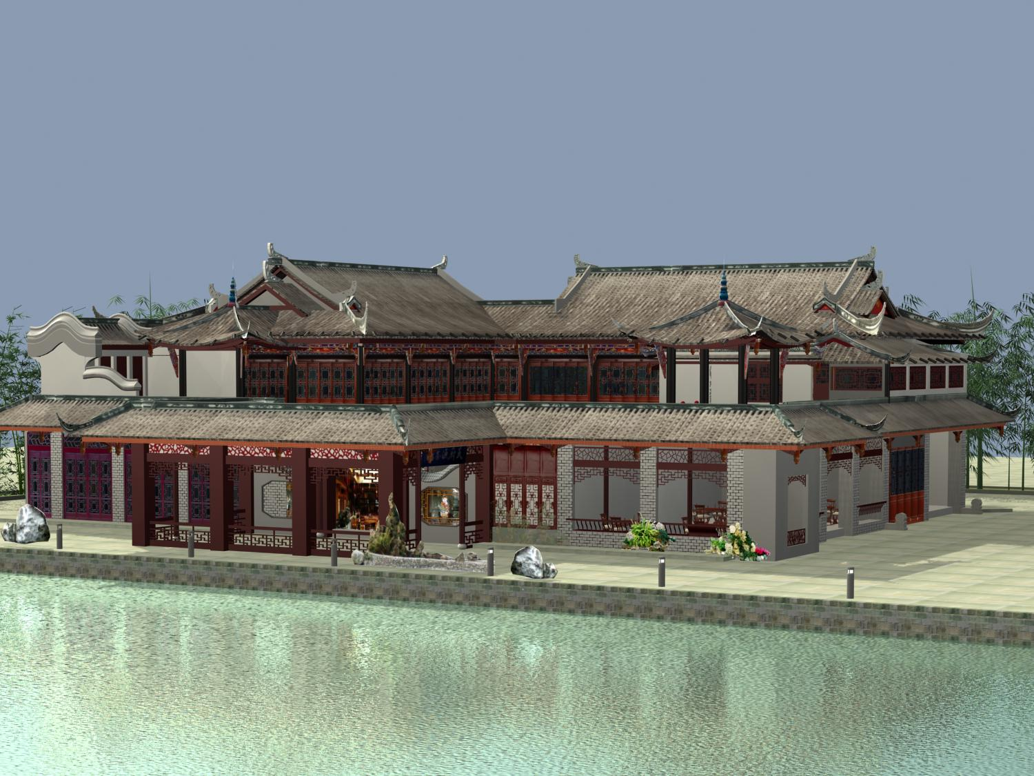 the fulongguan temple 3d model 3ds max 127912