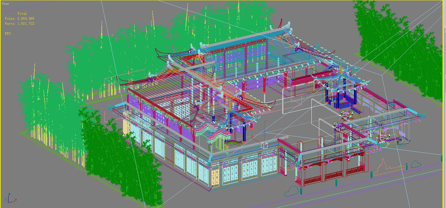 the fulongguan temple 3d model 3ds max 127921