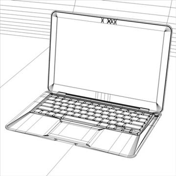 laptop apple macbook air 3d model 3ds dxf fbx c4d x obj 87797