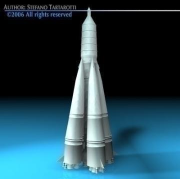 sputnik rocket r-7 semyorka 3d model 3ds dxf c4d obj 77992