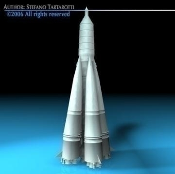 Sputnik rocket R-7 Semyorka ( 32.41KB jpg by tartino )