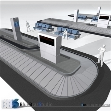 airport baggage carousel 3d model 3ds dxf c4d obj 105616