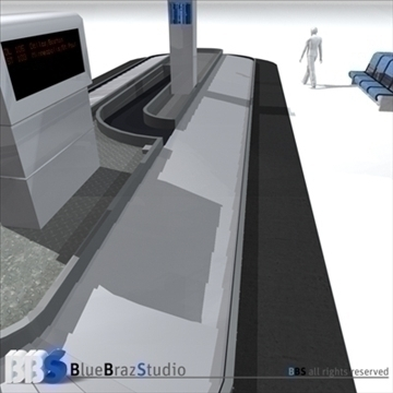 airport baggage carousel 3d model 3ds dxf c4d obj 105618