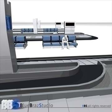 airport baggage carousel 3d model 3ds dxf c4d obj 105620