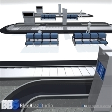 airport baggage carousel 3d model 3ds dxf c4d obj 105621