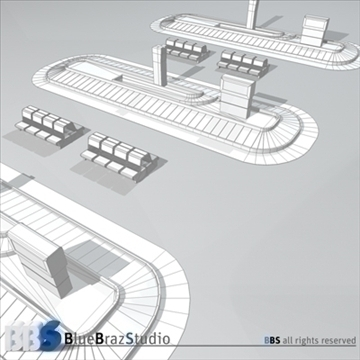 airport baggage carousel 3d model 3ds dxf c4d obj 105622