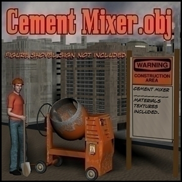 cement mixer.obj 3d model obj 106065