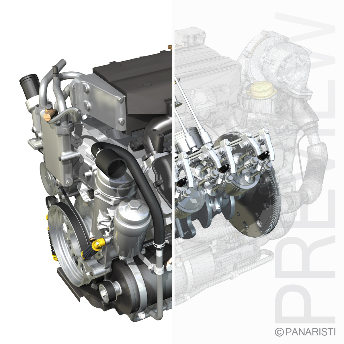 diesel turbo engine with interior parts 3d model 3ds c4d lwo obj 128856