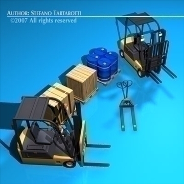 forklift collection 3d model 3ds dxf c4d obj 84919