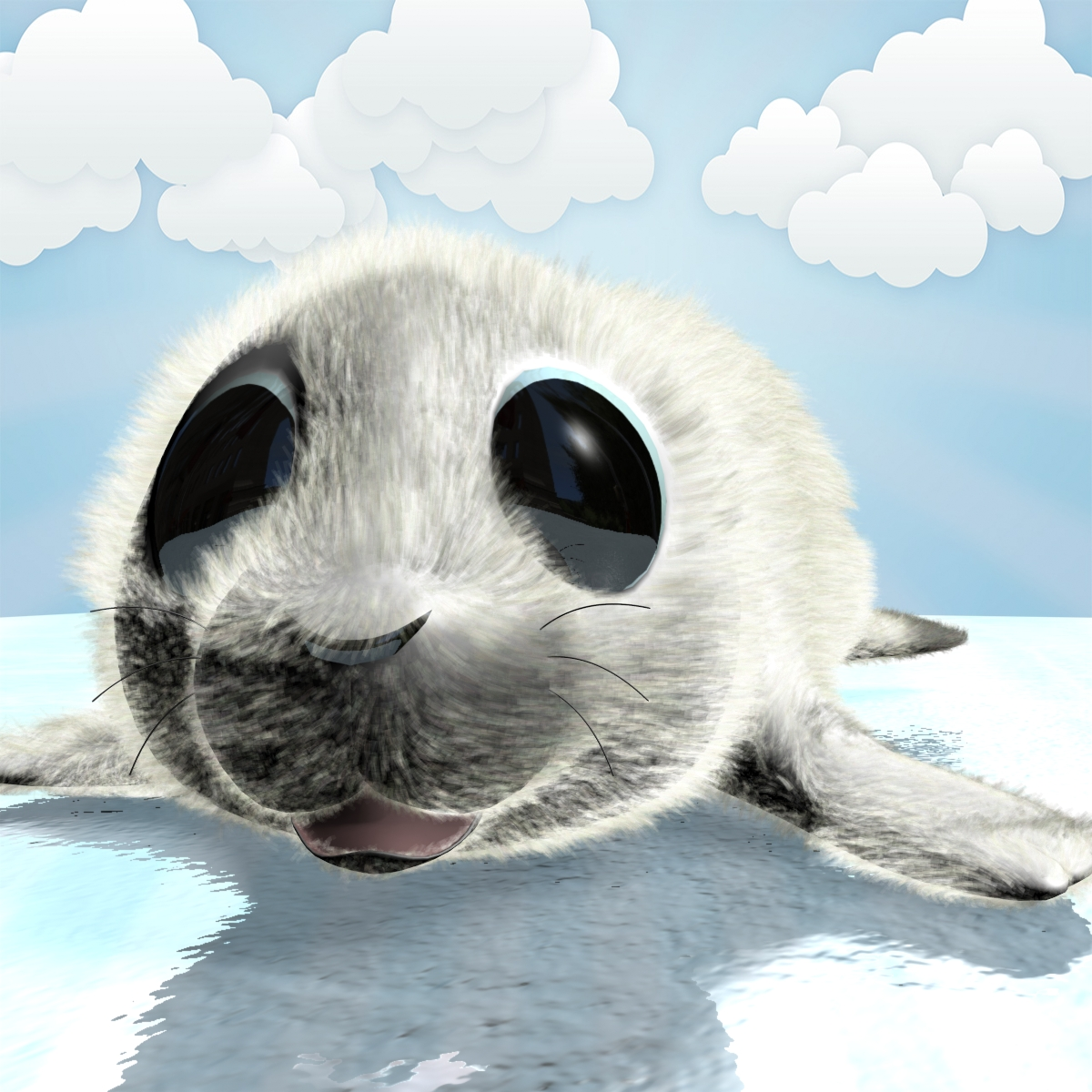 cartoon baby seal rigged 3d model 3ds max fbx obj 155445