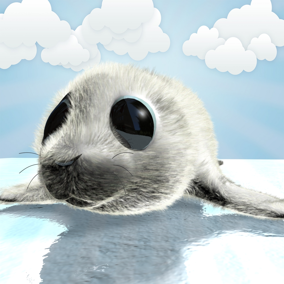 cartoon baby seal rigged 3d model 3ds max fbx obj 155446