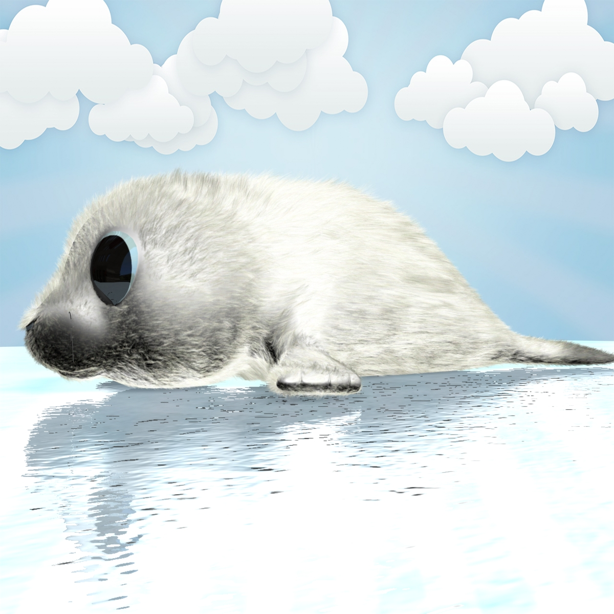 cartoon baby seal rigged 3d model 3ds max fbx obj 155447