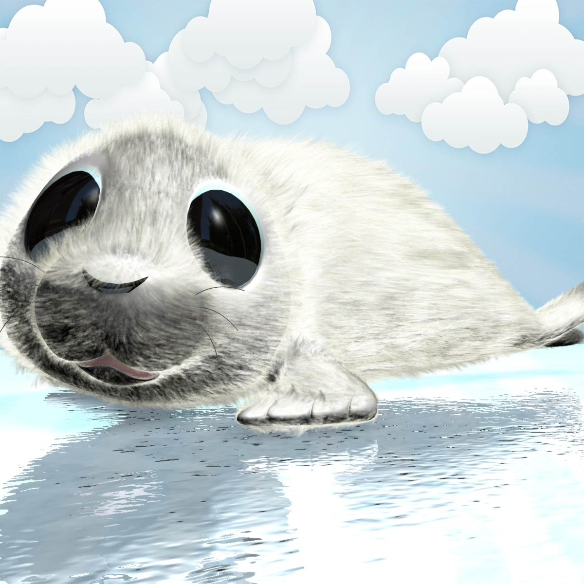 cartoon baby seal rigged 3d model 3ds max fbx obj 155449